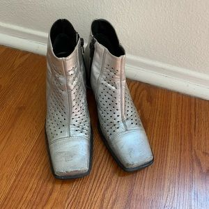 Shoes - Vintage 90s silver metallic square toe ankle boots